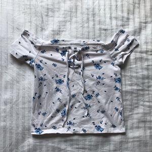 pacsun floral off the shoulder shirt